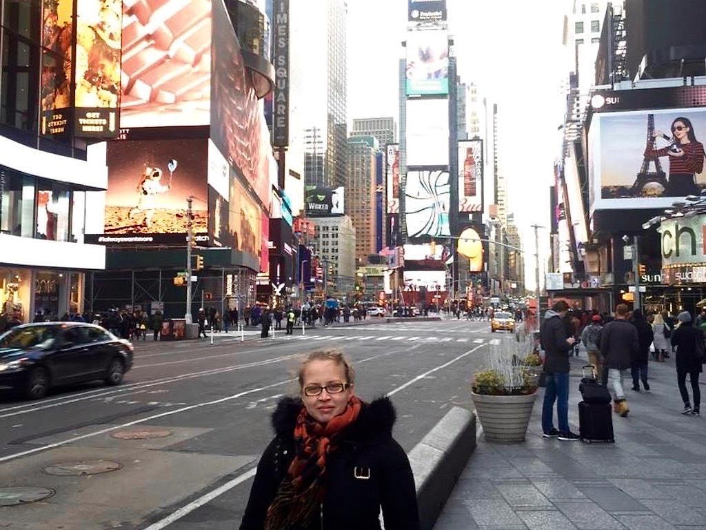 Deutsche in New York: Bianca am Times Square