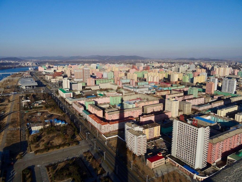 Nach Nordkorea reisen: Ausblick vom Chuch'e-Turm