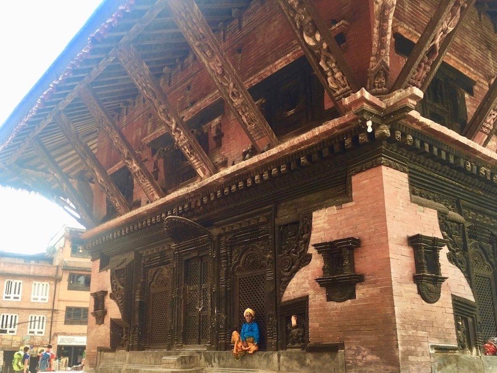 Tempel in Bhaktapur: Holz und Backstein