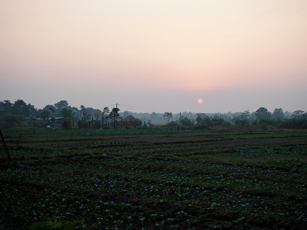 Aufenthalt im Tharu Community Homestay: Sonnenuntergang im Tharu-Dorf nahe Sauhara, Chitwan Nationalpark