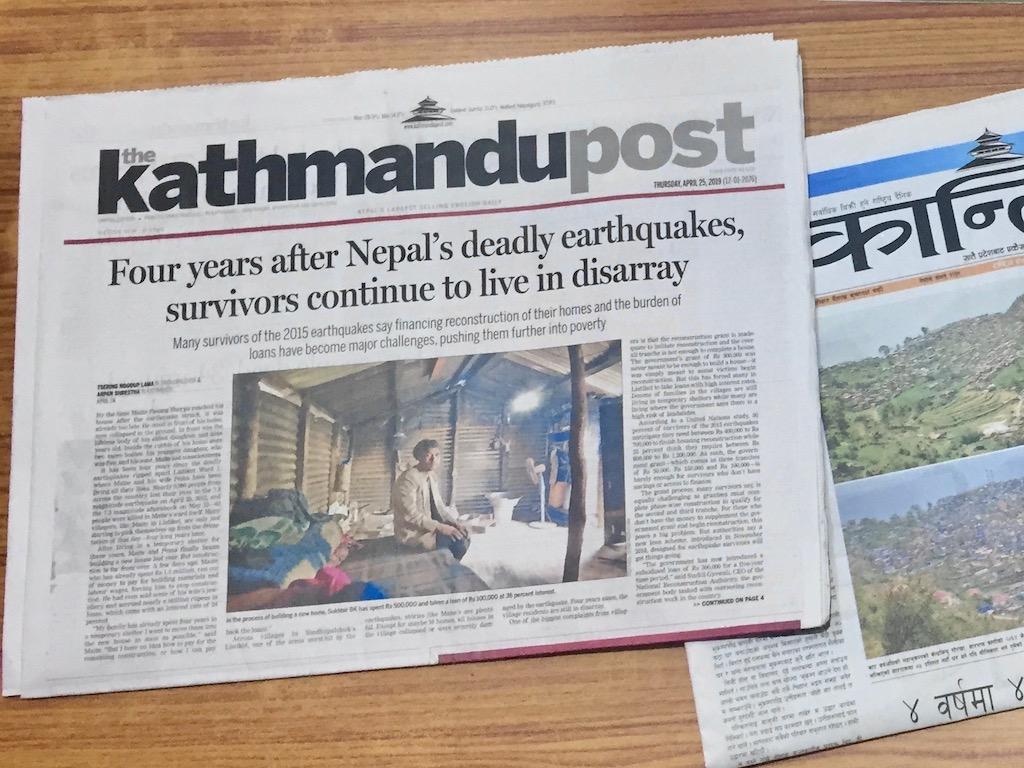 Wie wahrscheinlich ist ein Erdbeben in Nepal? Kathmandu Post vom 25.4., dem vierten Jahrestag der Katastrophe