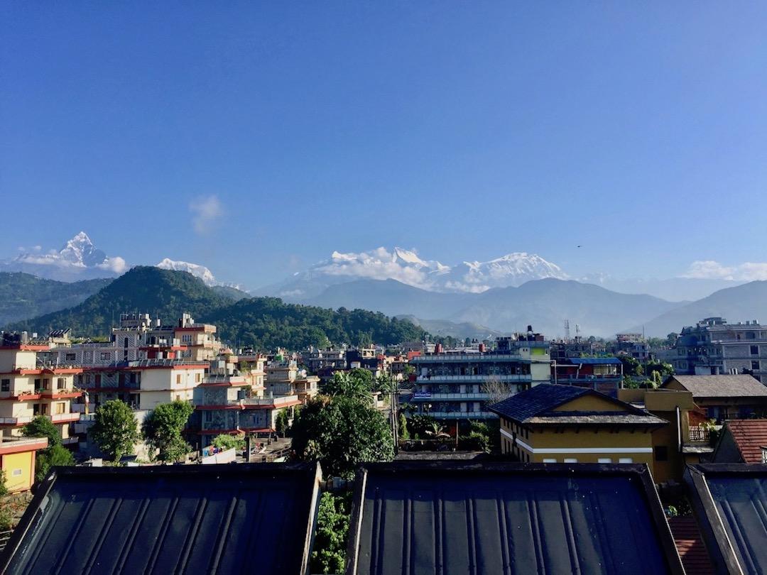 Annapurna-Massiv mit Machapuchare von Pokhara aus